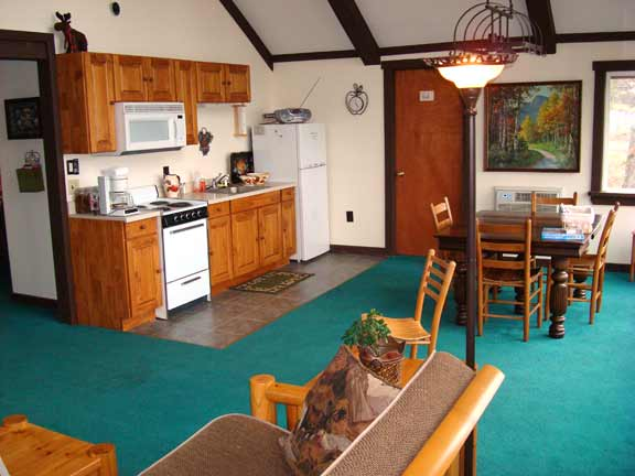2nd Floor Mountain View Suite - full kitchen, dining area - at Sky Chalet Mountain Lodge